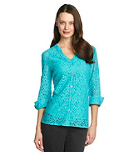 Notations® Y-Neckline Button-Front Lace Blouse