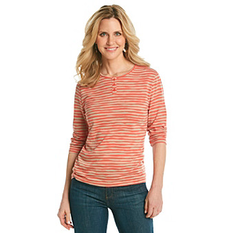 Breckenridge® Petites' Wavy Striped Henley