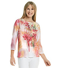 Breckenridge® Rose Sublimation Tee with Lace Applique