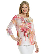 Breckenridge® Petites' Rose Sublimation Tee With Lace Applique