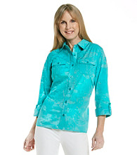 Breckenridge® Printed Buttondown Burnout Shirt