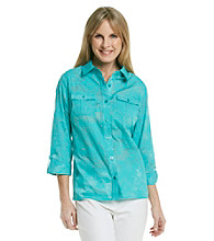 Breckenridge® Petites' Printed Buttondown Burnout Shirt