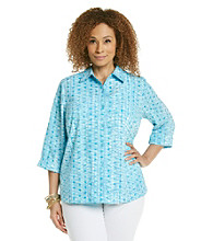 Studio Works® Plus Size Woven Ocean Dots Shirt