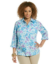 Studio Works® Plus Size Woven Purple Wildflower Shirt