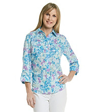 Studio Works® Petites' Woven Purple Wildflower Shirt