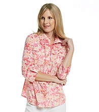 Studio Works® Petites' Woven Coral Carnation Shirt