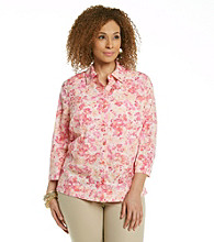 Studio Works® Plus Size Woven Coral Carnation Shirt