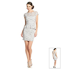 Marina Stretch Lace Peplum Dress