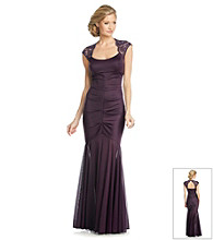 Xscape Long Ruched Dress With Lace