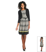 Jessica Howard® Pleated Print Sweater Dress