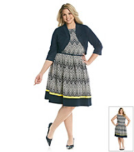 Jessica Howard® Plus Size Pleated Print Dress and Sweater