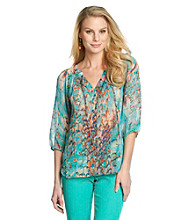 Nine West Jeans Carmindy Printed Sheer Blouse