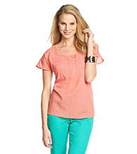 Nine West Jeans Edie Crinkle Tee with Soutache Detail