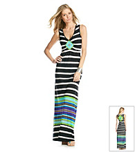 Oneworld® Black and White Striped Maxi Dress