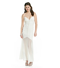 Jump® Juniors' Spaghetti Strap Ivory Mermaid Gown