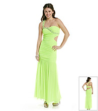 Hailey Logan Juniors' One Shoulder Lime Mermaid Gown