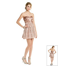 Trixxi® Juniors' Strapless Stripe Glitter Mesh Party Dress