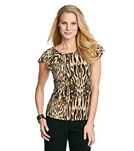 Anne Klein® Animal Print Flutter Top