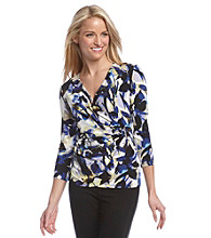 Calvin Klein Printed Faux Wrap Top