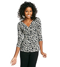 Chaus Leopard Print Criss Cross Top