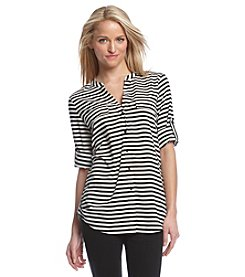 Calvin Klein Striped Roll-Tab Blouse