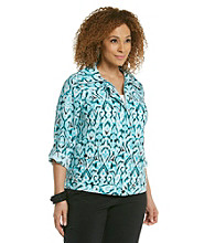 Laura Ashley® Plus Size Ikat Printed Weekend Jacket