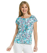 Laura Ashley® Tropical Print Balletneck Tee