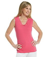Laura Ashley® Petites' Lace TrimScoopneck Tank