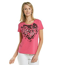 Laura Ashley® Petites' Pink Rose Applique Tee