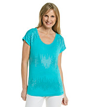 Laura Ashley® Abstract Studded Stripe Tee