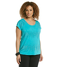 Laura Ashley® Plus Size Abstract Studded Stripe Tee