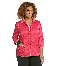 Laura Ashley® Plus Size Pink Ruched Placket Jacket