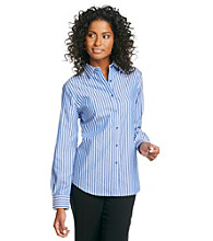Jones New York Signature® Blue And White Striped Basic Shirt