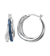 Rhodium-Plated Brass Blue Diamond Accent Hoop Earrings