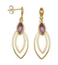18K Gold-Over-Brass Genuine African Amethyst Stud Earrings