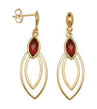18K Gold-Over-Brass Garnet Stud Earrings