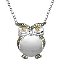 Rhodium-Plated Brass and Diamond Accent Owl Pendant