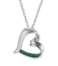 Rhodium-Plated Brass and Diamond Accent Heart Pendant