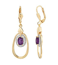 18K Gold-Over-Brass and Genuine African Amethyst Oval Drop Earrings