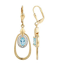 18K Gold-Over-Brass and Blue Topaz Oval Drop Earrings