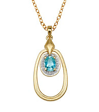 18K Gold-Over-Brass Two-Tone Geniune Blue Topaz Oval Pendant