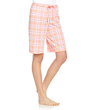 KN Karen Neuburger Knit Bermuda Shorts - Tangerine Plaid