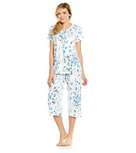 KN Karen Neuburger Cardi Crop Knit Pajama Set - Willow Floral