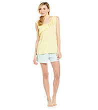 KN Karen Neuburger Knit Tank/Shorts Pajama Set - Yellow Plaid