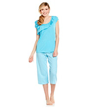 KN Karen Neuburger Knit Combo Crop Pajama Set - Blue Geo