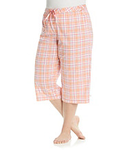 KN Karen Neuburger Plus Size Knit Capris - Tangerine Plaid