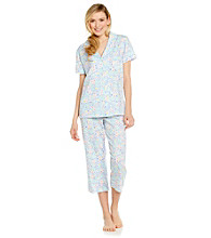 Dearfoams Knit Capri Pajama Set - Blue Floral