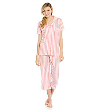 Dearfoams Knit Capri Pajama Set - Pink Stripe