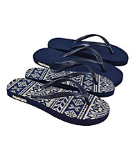 MUK LUKS® Southwest Fairisle Flat Flip Flops 2Pair Packs