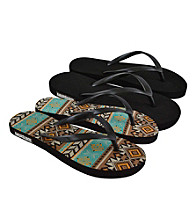 MUK LUKS® Southwest Multi Flat Flip Flops 2Pair Packs